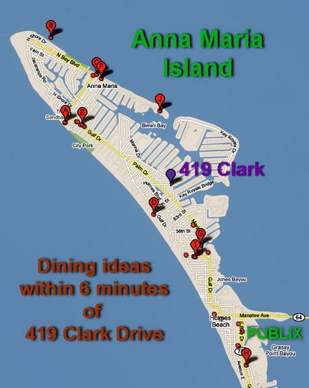 Anna Maria Island restaurant map